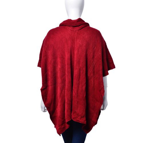 Set of 2 - Burgundy Colour Poncho (Size 80x70 Cm) and Scarf (Size 145x13 Cm)