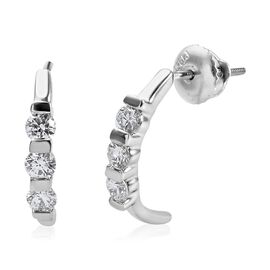 RHAPSODY 950 Platinum IGI Certified Diamond (Rnd) (VS/E-F) Half Hoop Earrings (with Screw Back) 0.56