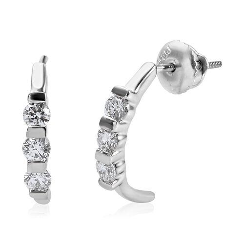 RHAPSODY 950 Platinum IGI Certified Diamond (Rnd) (VS/E-F) Half Hoop Earrings (with Screw Back) 0.56