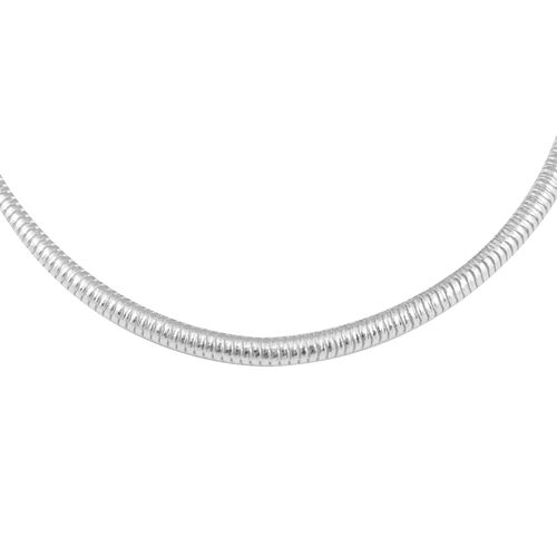 Snake Chain Necklace in Rhodium Plated Sterling Silver 18 Inch