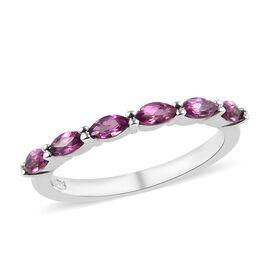 Rhodolite Garnet (Mrq) Six Stone Ring in Platinum Overlay Sterling Silver 0.60 Ct.