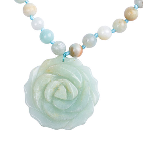 Multi Colour Amazonite Necklace (Size 18) in Rhodium Overlay Sterling Silver 171.00 Ct.