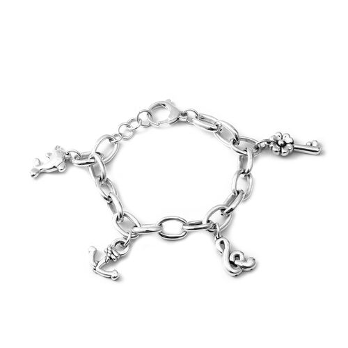 One Time Deal - Rhodium Overlay Sterling Silver Multi Charm Bracelet (Size 7.5 and Half inch Extende