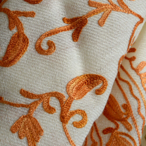 Limited Available - 100% Merino Wool Cream and Orange Colour Embroidered Scarf with Fringes (Size 200x70 Cm)