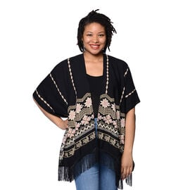 Black Open Front Embroidered Kimono with Tassels (Size 70x95+10cm)