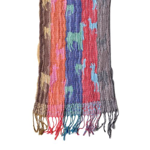 Orange, Blue and Multi Colour Camel Pattern Scarf with Tassels (Size 170X30 Cm)