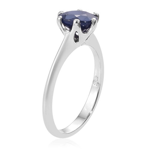 Diffused Blue Sapphire (2.00 Ct) Platinum Overlay Sterling Silver Ring  1.750  Ct.