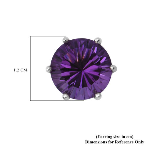 Lusaka Amethyst Stud Earrings (with Push Back) in Rhodium Overlay Sterling Silver 6.90 Ct.
