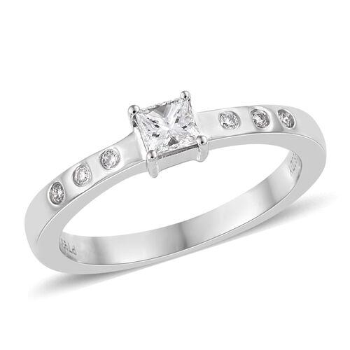 RHAPSODY 950 Platinum IGI CERTIFIED Diamond (Rnd and Sqr) (VS / E-F) Ring 0.330 Ct.