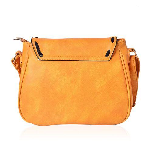 Mustard Colour Medium Size Crossbody Saddle Bag With Adjustable Shoulder Strap (Size 25x19x8 Cm)
