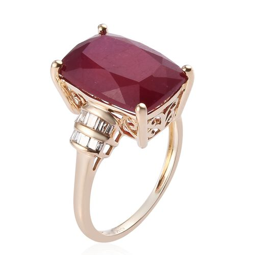 9K Yellow Gold African Ruby and Natural Diamond Ring 9.85 Ct.