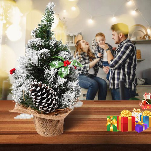 Table Christmas Tree with Snow Flocking, Berries and Pine Cone (Size 40cm) - White
