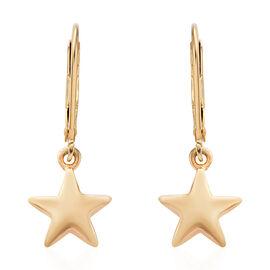 14K Gold Overlay Sterling Silver Star Lever Back Earrings, Silver wt 2 gms