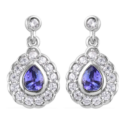 AAA Tanzanite and Natural Cambodian Zircon Dangle Earrings (with Push Back) in Platinum Overlay Ster