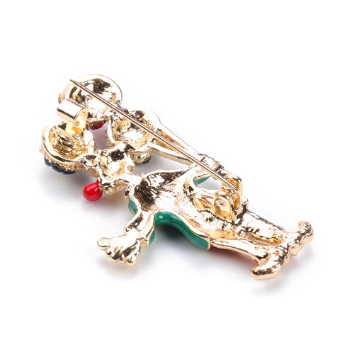 Set of 2 - White and Multi Colour Austrian Crystal Enamelled Christmas Theme Brooch