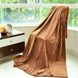 Superfine Cognac Colour Microfiber Corduroy Plush Blanket 305X200 cm