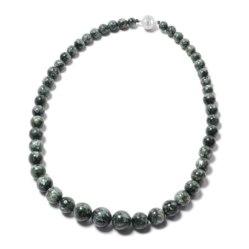 Extremely Rare-Siberian Seraphinite Beads Necklace (Size 20) with Magnetic Lock in Rhodium Overlay S