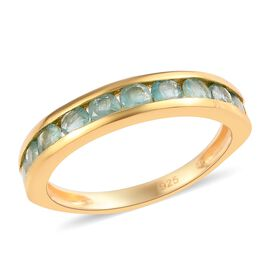 Close Out Deal AA Grandidierite Half Eternity Ring in1 4K Gold Overlay Sterling Silver 1.00 Ct.