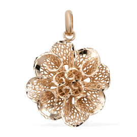 Royal Bali Collection 9K Yellow Gold Lattice Floral Pendant