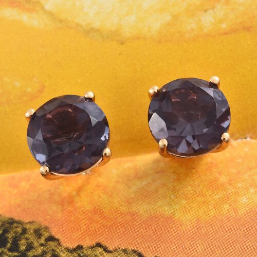 Alexandria Quartz (Rnd) Stud Earrings (with Push Back) in 14K Gold Overlay Sterling Silver 8.250 Ct.