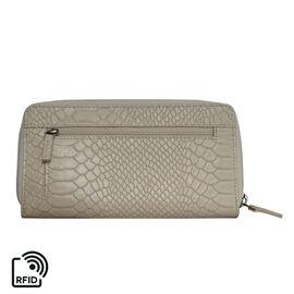 Assots London HAZEL Python Embossed Genuine Leather RFID Zip Around Purse (Size 20x2x10 Cm) - Pastel