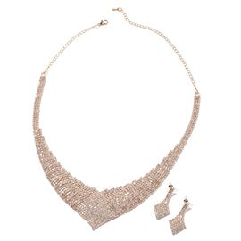 2 Piece Set White Austrian Crystal Necklace and Earrings in Gold Tone 16 with 5 inch Extender