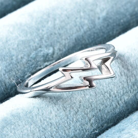 LucyQ Thunder Collection - Rhodium Overlay Sterling Silver Thunderbolt Ring