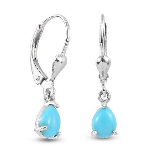 Arizona Sleeping Beauty Turquoise Lever Back Earrings in Platinum Overlay Sterling Silver 1.25 Ct.