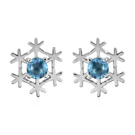 Blue Topaz (Rnd) Snowflake Design Earrings (with Push Back) in Platinum Overlay Sterling Silver 1.25