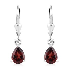 Mozambique Garnet (Pear) Lever Back Earrings in Platinum Overlay Sterling Silver 2.50 Ct.