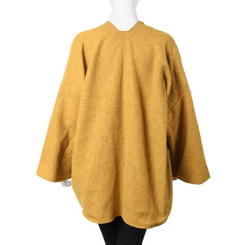 Yellow Long-Sleeve Multicolour Embroidered Kimono (Size 72x80cm)