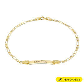 9CT Gold 60 Hollow Figaro Children ID Bracelet, Size 6 Inch
