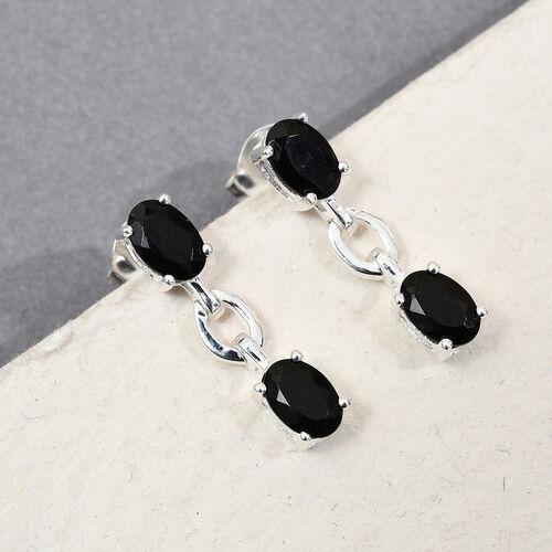 Black Tourmaline Dangling Earrings in Sterling Silver