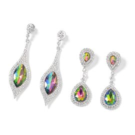 Set of 2 - Simulated Mystic Topaz (Mrq 27x13 mm), White Austrian Crystal Dangle Earrings (with Push Back) in Silver Tone