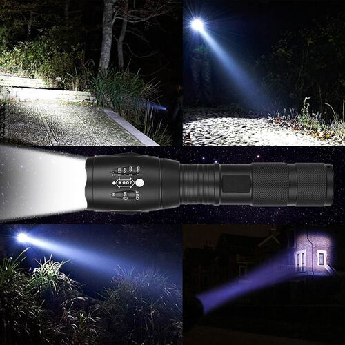 TAC Torch Light with High, Medium, Low, SOS and Flash Light Mode - 3xAAA Battery (Not Included) - Black
