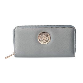 Silver RFID Long Clutch Wallet