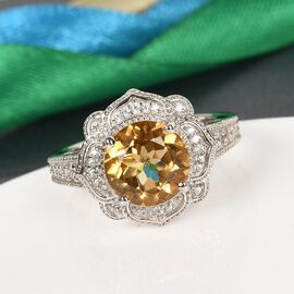 GP - Citrine, Natural Cambodian Zircon and Blue Sapphire Ring in Platinum Overlay Sterling Silver 2.27 Ct.