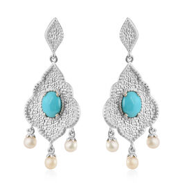 Arizona Sleeping Beauty Turquoise (2.50 Ct), Freshwater Pearl Earrings (with Push Back) in Platinum