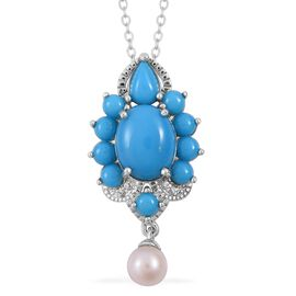 Arizona Sleeping Beauty Turquoise (Ovl 2.50 Ct), Fresh Water Pearl  and Natural Cambodian White Zircon Pendant with Chain in Rhodium Plated Sterling Silver 5.070 Ct.