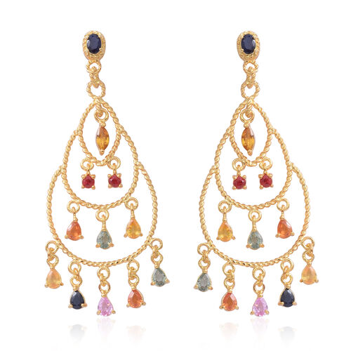 Rainbow Sapphire Chandelier Earrings (with Pus Back) in 14K Gold Overlay Sterling Silver 4.250 Ct. Silver wt 7.20 Gms.