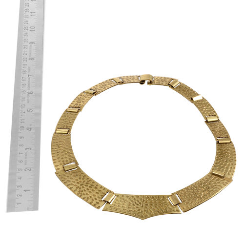 Gold Plated Embossed Pattern Flexible Brass Necklace (Size 19)