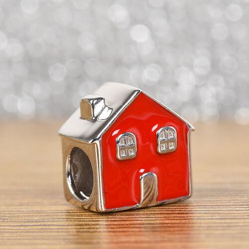 Charmes De Memoire - Platinum Overlay Sterling Silver Enamelled House Charm