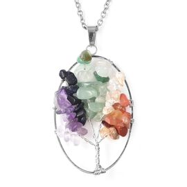 Multi Gemstone Tree of Life Pendant with Chain (Size 24) in Stainless Steel 22.50 Ct.