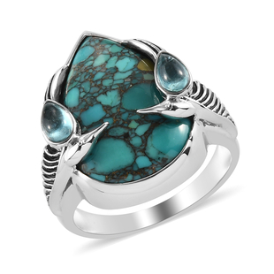 Freshened Turquoise ,  Blue Green Apatite  Ring in Rhodium Overlay Sterling Silver 8.85 ct,  Sliver