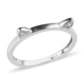Diamond Cat Ear Stacking Silver Ring in Platinum Overlay