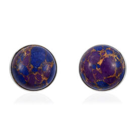 Mojave Purple Turquoise (Rnd) Stud Earrings (with Push Back) in Sterling Silver 5.220  Ct.