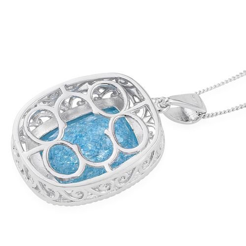 Paraiba Blue Crackled Quartz (Cush) Pendant With Chain in Platinum Overlay Sterling Silver 10.250 Ct.