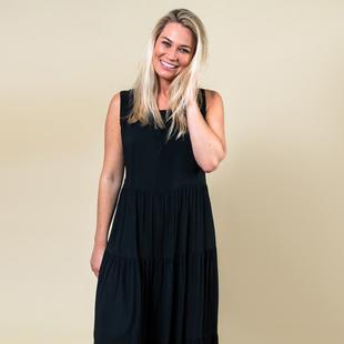 TAMSY Open Back Sleeveless Midi Dress - Black