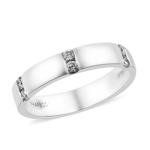 RHAPSODY 950 Platinum IGI Certified Diamond (Rnd) (VS/E-F) Band Ring 0.200 Ct., Platinum wt 5.98 Gms.