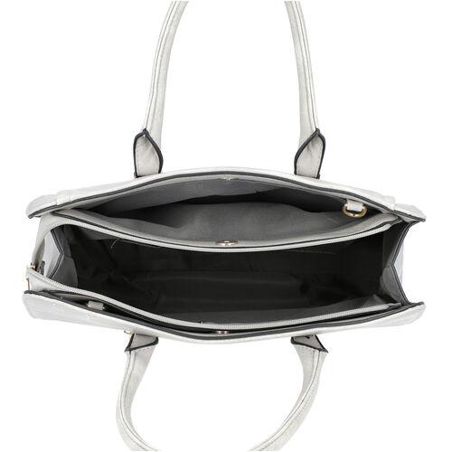 Grey Satchel Bag with Zipper Closure and Adjustable Shoulder Strap (Size 35x9x27 Cm)